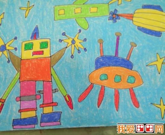 未来机器人彩色铅笔和蜡笔画作品