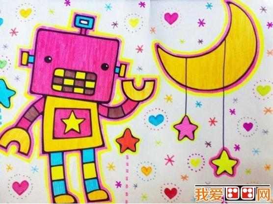 未来机器人彩色铅笔和蜡笔画作品_儿童画教程_学画画