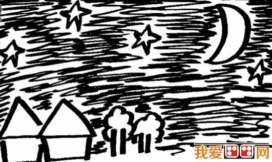 儿童夜晚风景简笔画作品欣赏