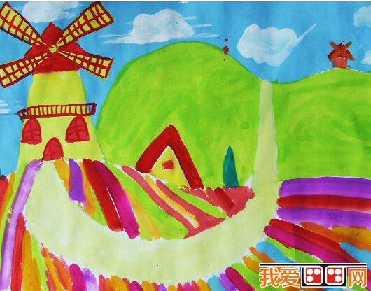儿童画绘画:风车的画法和风车画作品图片