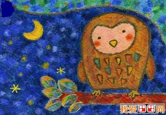 儿童画油画棒作品 猫头鹰图片