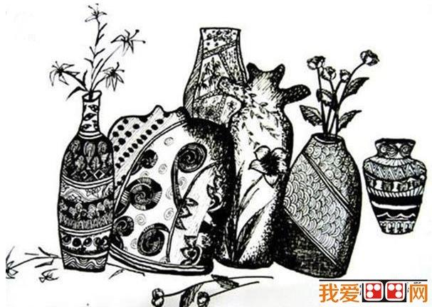 儿童画装饰画黑白花瓶作品欣赏
