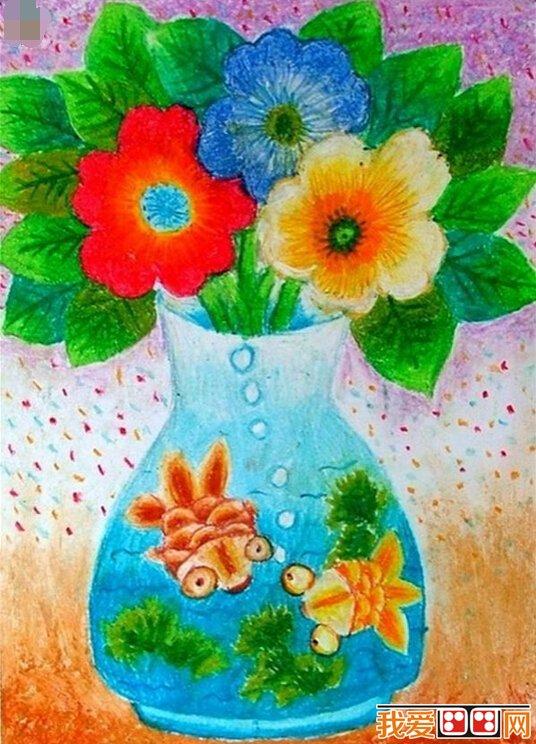 儿童水彩画图片欣赏《漂亮的花瓶》