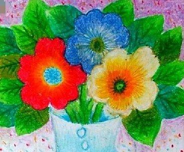 儿童水彩画图片欣赏《漂亮的花瓶