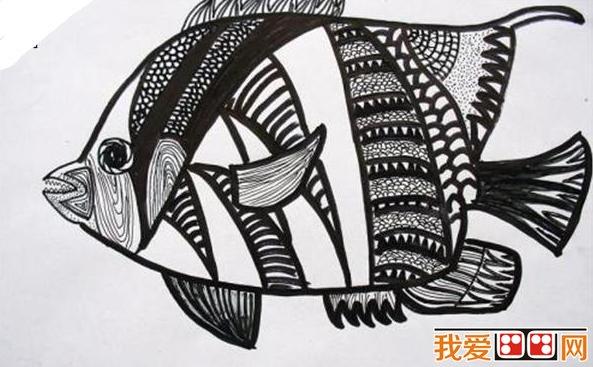 儿童画欣赏:各种装饰画黑白画_51自学网