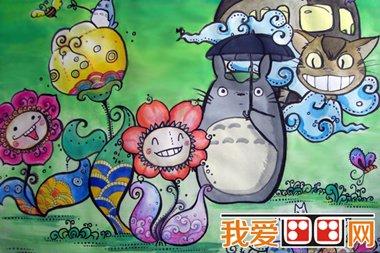 《龙猫》卡通画_儿童画教程_学画画_我爱画画网