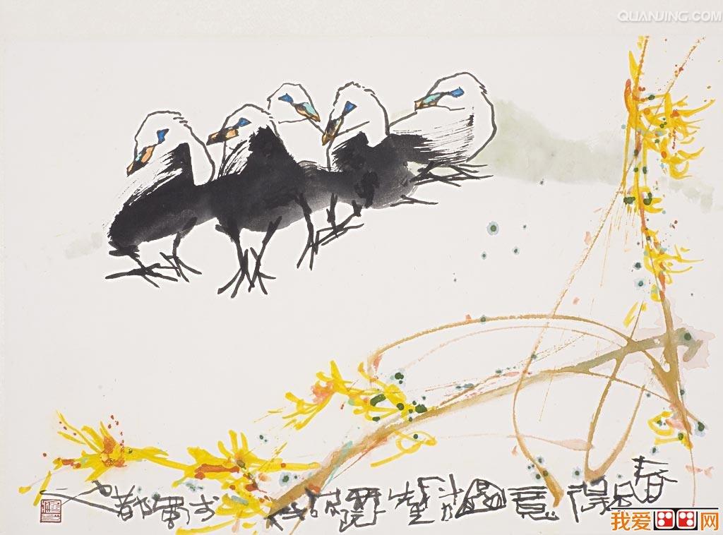 中国画简易工笔水墨动物图片