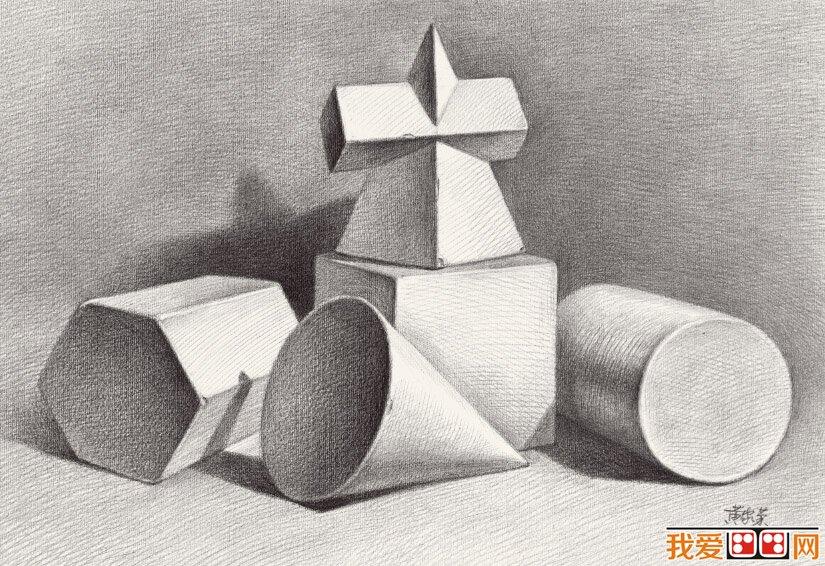 素描组合几何体的技巧与方法
