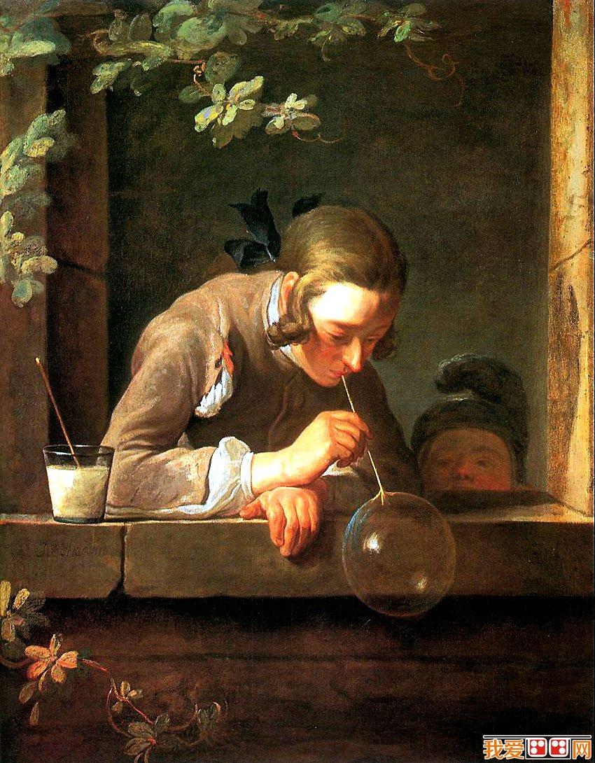 世界名画《吹肥皂泡的少年》赏析图片
