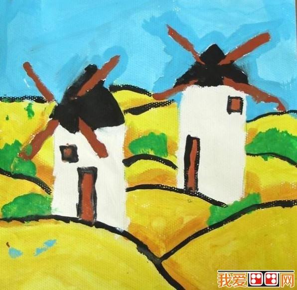 儿童学画画:风车水粉画作品欣赏图片