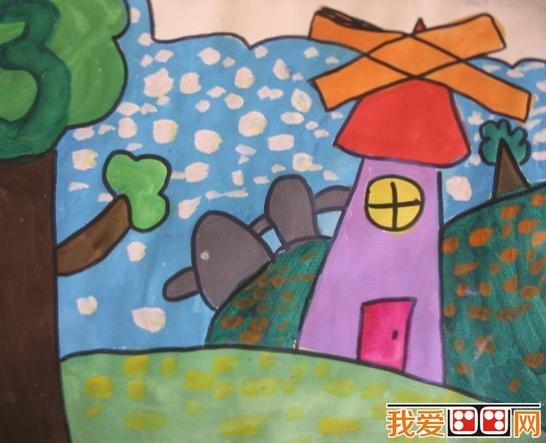 儿童学画画 风车水粉画作品欣赏