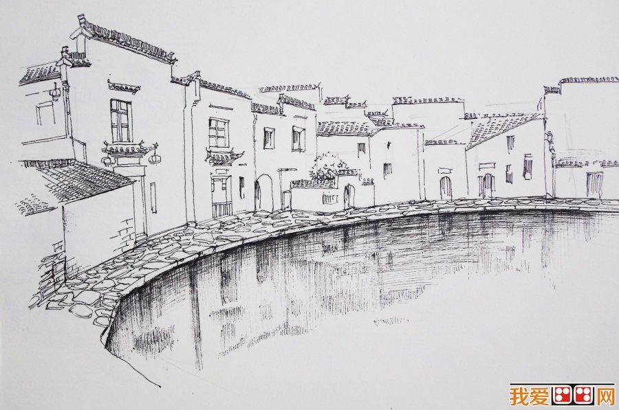 画画房子风景素描