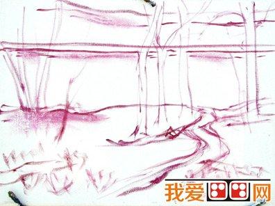 油画教程:公园风景油画步骤图_油画教程_学画画_我爱