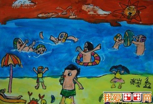 水彩画欣赏 夏季游泳水彩画作品大全 4