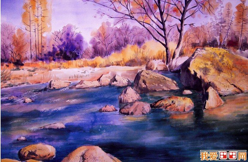 初级水彩4开风景画临摹 www.woaihuahua.com 宽828x542高