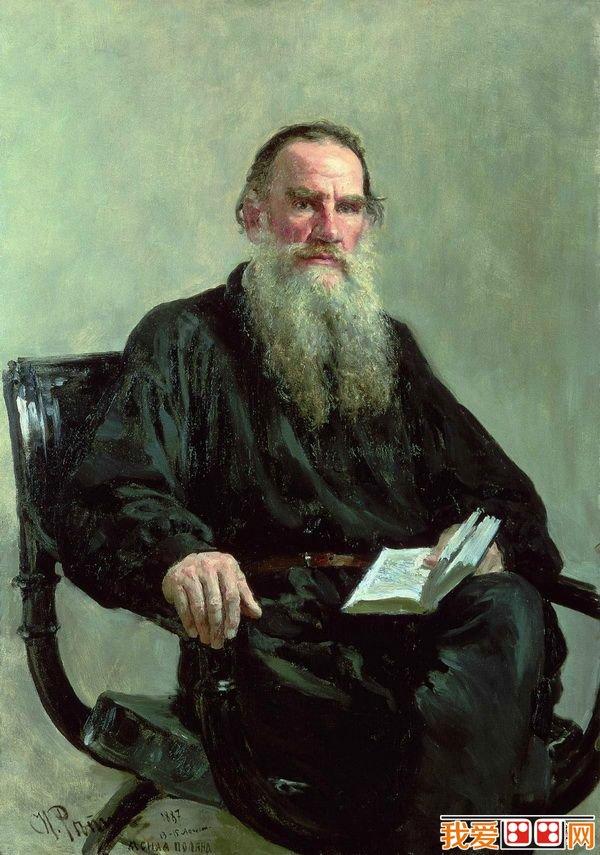 。现在保存在特列恰可夫画廊的《托尔斯泰肖像》(1887),是托尔斯泰所有肖像画中最为出色的一幅。画中的托尔斯泰处在读书间隙的瞬间,似乎书中的内容引起他注目深思,作家的睿智目光避过观众而直视着遥遥的远方,表现了集中思维的神态。在构图与用色上,十分简练、朴素。列宾从作家的脸上,看到了一个强壮而高尚的男子汉,同时又是带着贵族风度的一位伯爵,他那文雅的姿态,高傲而锐利的眼光,一切都使人赞佩。充满着巨大的精神力量和信念。