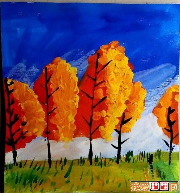 > 儿童水彩画:自然风景儿童水彩画作品欣赏(6)      说到秋天,映入