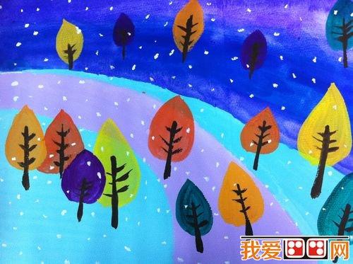 儿童水彩画:冬天风景儿童水彩画作品欣赏