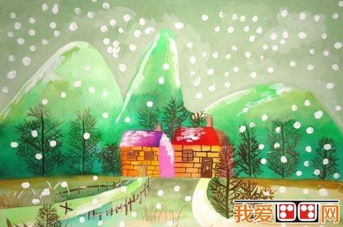 儿童水彩画:冬天风景儿童水彩画作品欣赏(2)