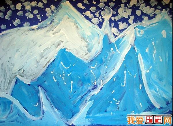 儿童水彩画:冬天风景儿童水彩画作品欣赏(4)