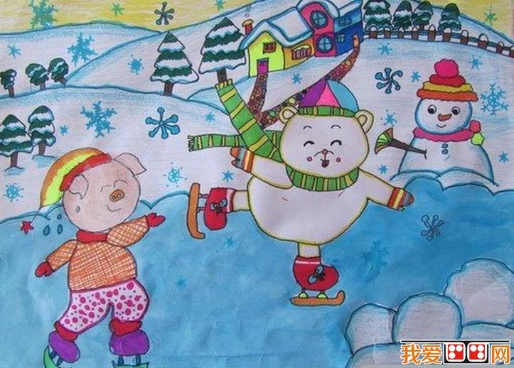 兒童水彩畫:冬天風景兒童水彩畫作品欣賞(6)
