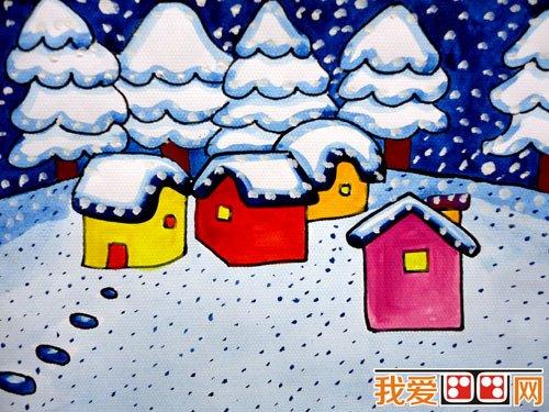 儿童水粉画:冬日景色儿童水粉画作品欣赏(2)