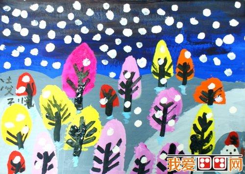儿童水粉画:冬日景色儿童水粉画作品欣赏(3)