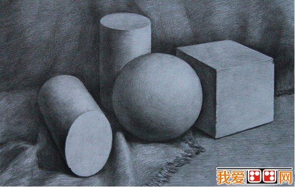 静物素描几何体作品欣赏