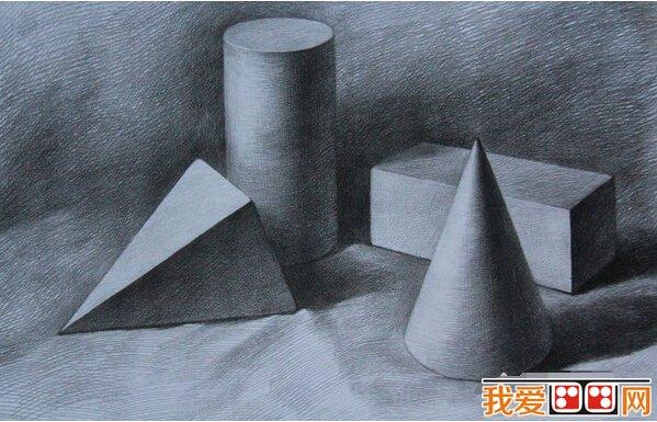 静物素描几何体作品欣赏 3