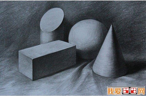 静物素描几何体作品欣赏 4