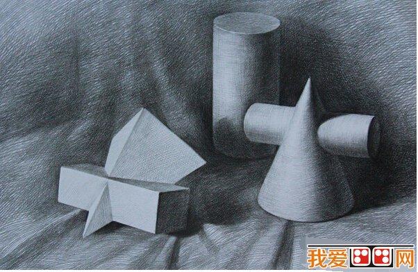 静物素描几何体作品欣赏 5