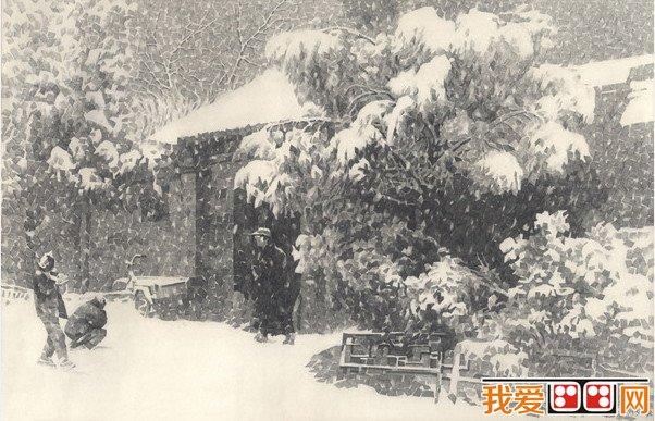 宽线条胡同风景素描作品欣赏(4)       胡同里家家栽种各式树木
