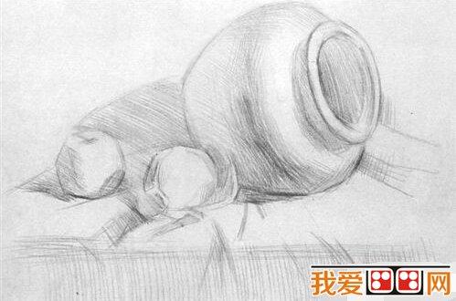 素描教程:陶罐与橘子素描技巧(2)