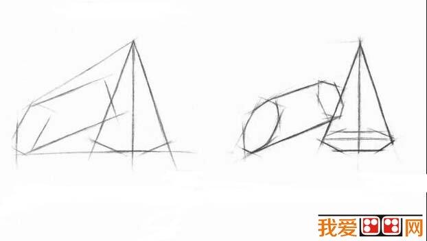 素描教程 素描圆锥与方锥结合体步骤图片