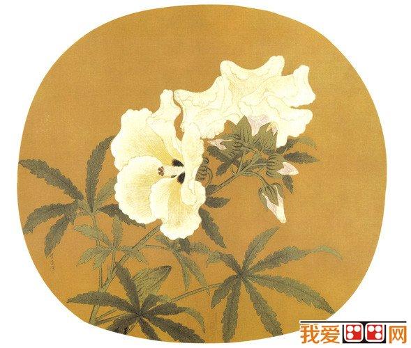 写秋葵一枝,工笔勾勒填彩,花瓣用粉细勾,叶用重绿,姿韵生动,重彩渲染