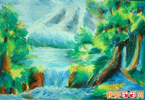 儿童画欣赏 美丽的景色蜡笔画作品 3