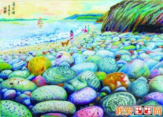 儿童画欣赏 美丽的景色蜡笔画作品 5