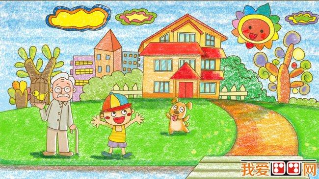 儿童画欣赏 美丽的景色蜡笔画作品 6