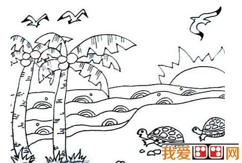 儿童简笔画作品:海边风景简笔画欣赏
