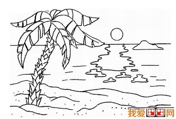 儿童简笔画作品 海边风景简笔画欣赏 3