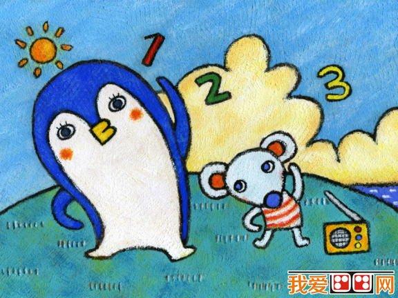 儿童画欣赏 儿童蜡笔画可爱的动物