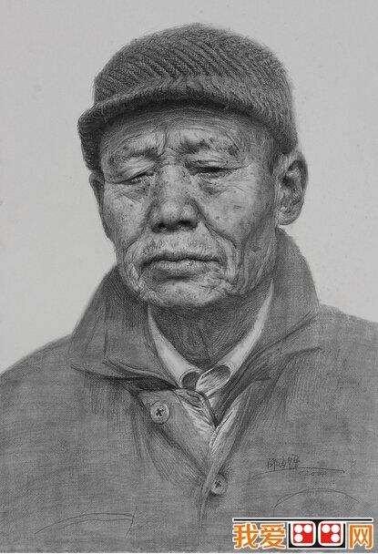 邵占锋素描老人头像