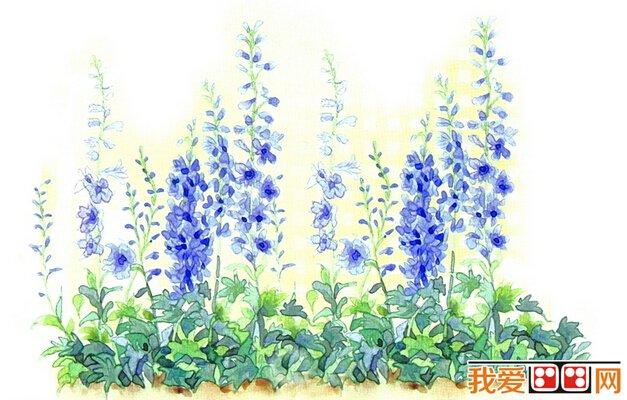 蓝色水彩色块素材