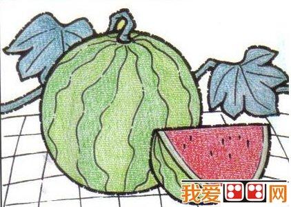 儿童画画教程:油画棒画西瓜步骤图解(5)