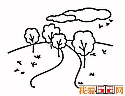 简笔画:自然风景简笔画作品欣赏(4)