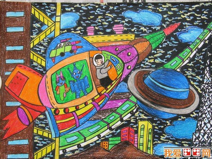 儿童科幻画 太空家园作品欣赏 4图片