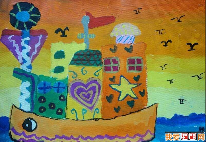 儿童水彩画:《大海上的船》儿童水彩画作品欣赏(5)