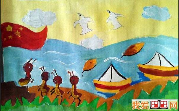 儿童水彩画:《大海上的船》儿童水彩画作品欣赏(6)