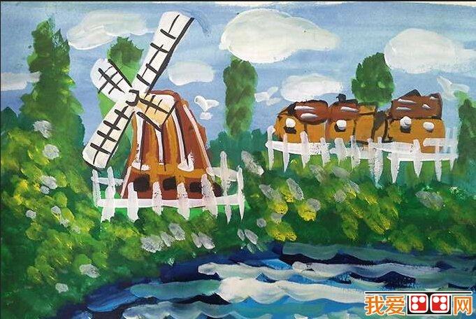 儿童水彩画:美丽的乡村风景作品欣赏(3)