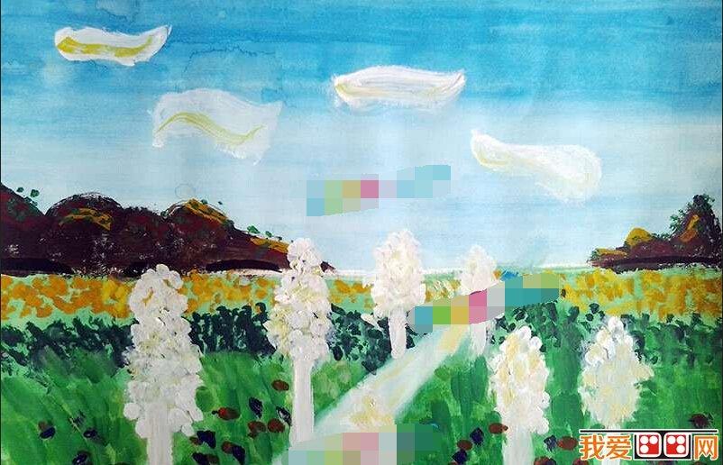 儿童水彩画 美丽的乡村风景作品欣赏 5